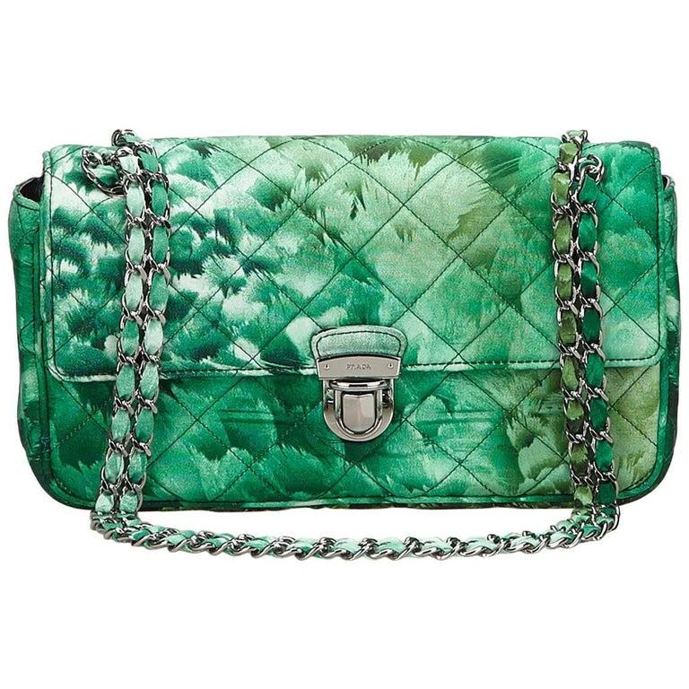 Prada Green Nylon Chain Shoulder Bag