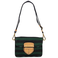 Prada Green x Black Pattina Canapa Righe Bag