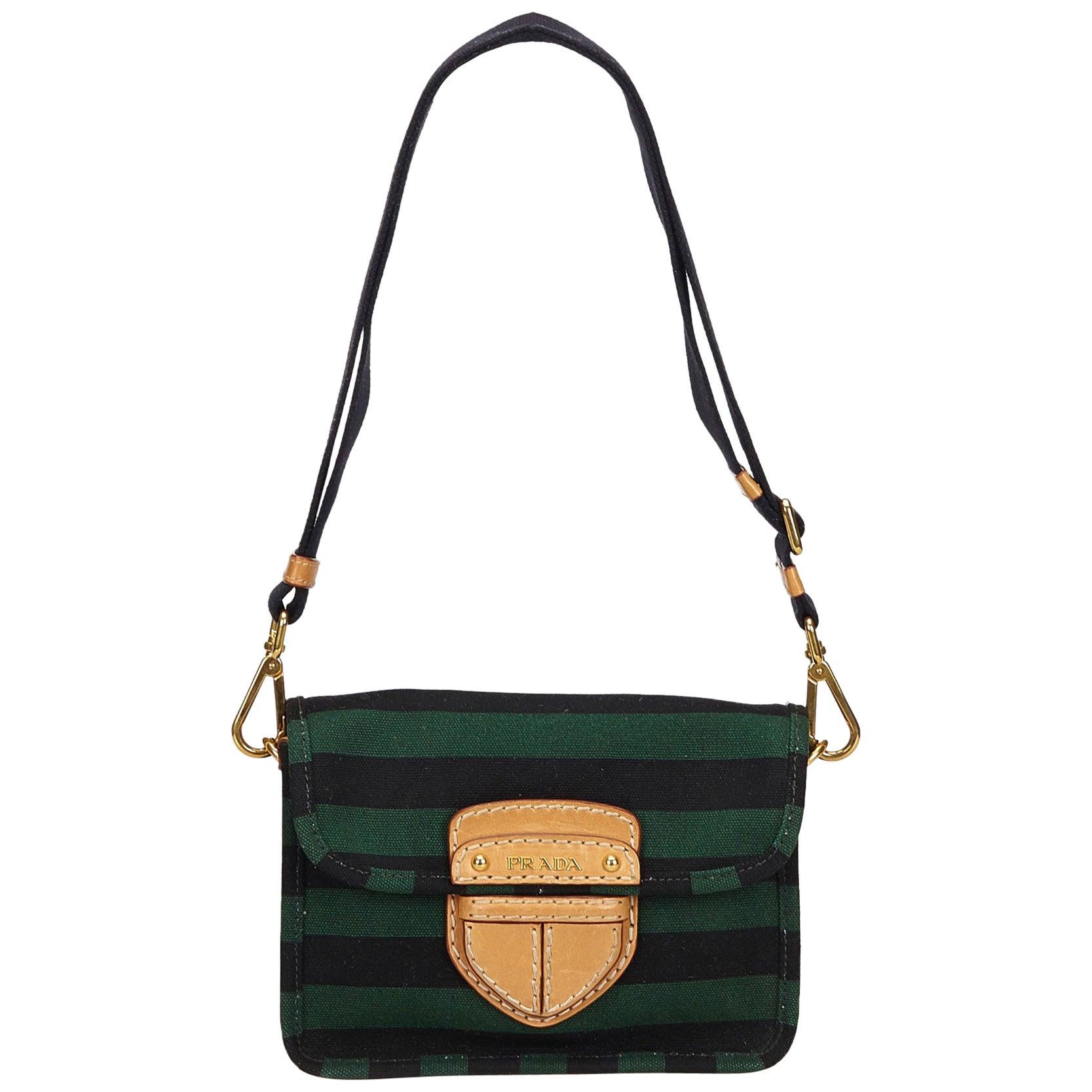 5341577ef6bc6b Prada Green x Black Pattina Canapa Righe Bag at 1stdibs