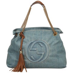 Gucci Blue x Denim x BrownMedium Denim Soho Bag