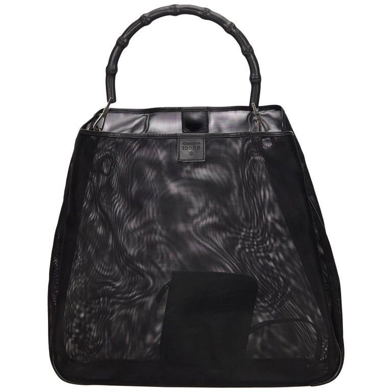6ab7e229332e Gucci Black Bamboo Mesh Tote Bag For Sale at 1stdibs