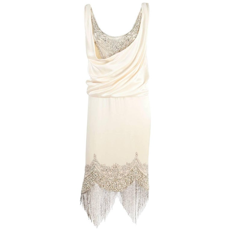 Alexander McQueen Ivory Silk Embroidered Beaded Dress with Fringe, 2007