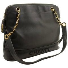 Chanel Caviar Chain Shoulder Bag Black Logo Gold Zipper Leather