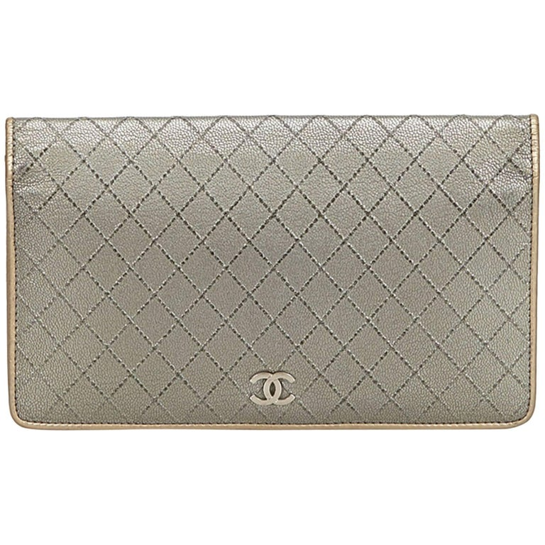 Chanel Gray Matelasse Leather Wallet