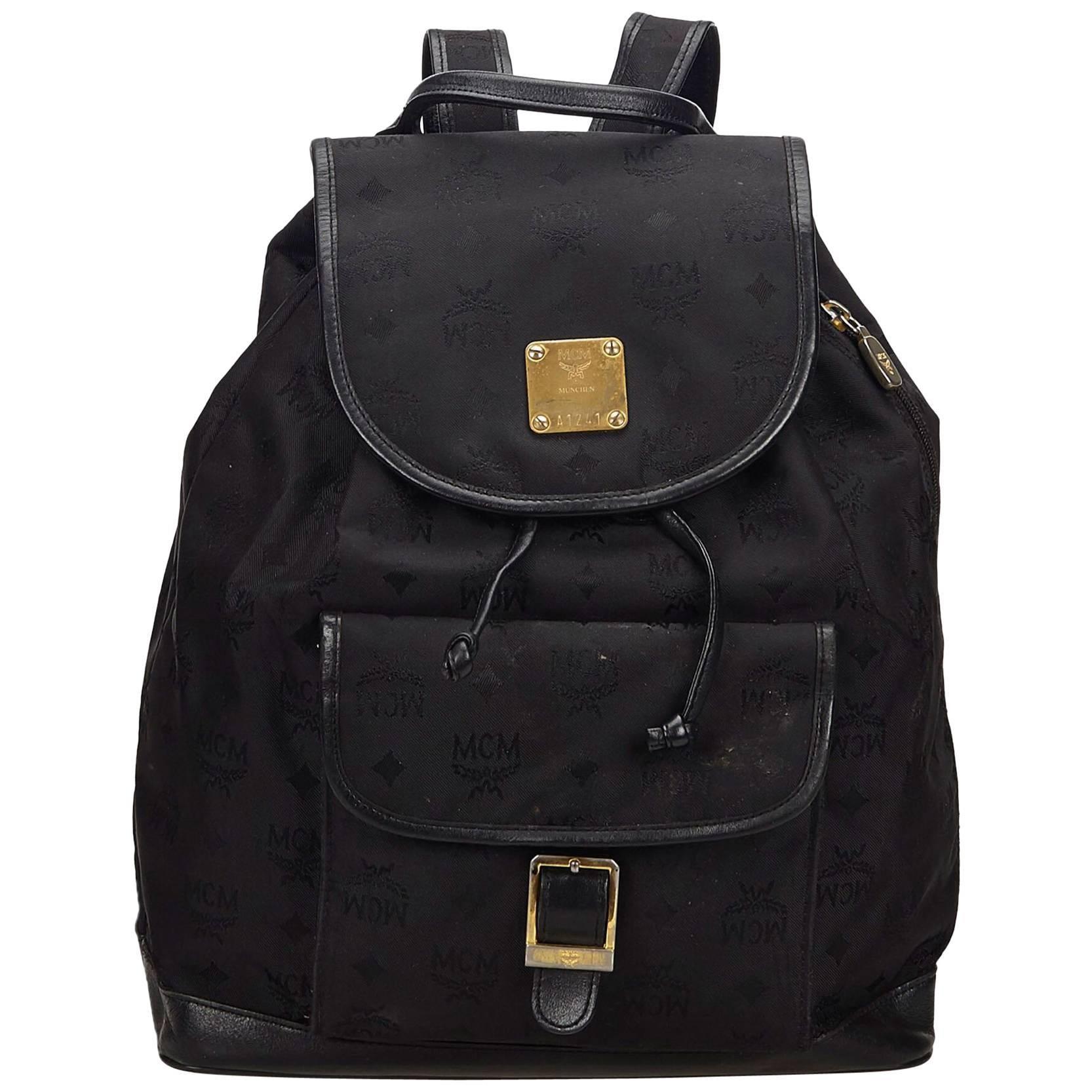 MCM Mcm Black Visetos Nylon Drawstring Backpack I0jASZQ