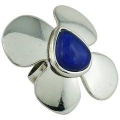 Yves Saint Laurent YSL Vintage Silver Toned Flower Ring