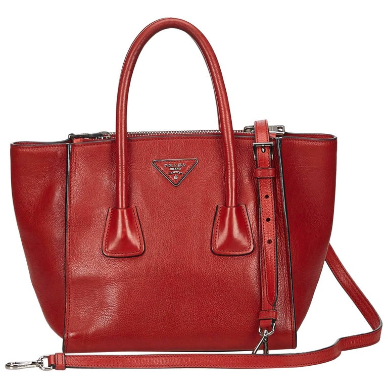 Prada Red Vitello Daino Leather Satchel