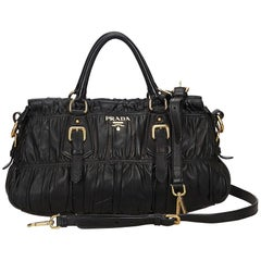 Prada Black Gathered Leather Satchel