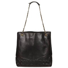 Chanel Black Lambskin Chain Tote Bag