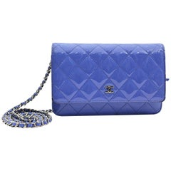 Chanel Lilac Quilted Patent Leather Wallet on Chain Clutch Bag