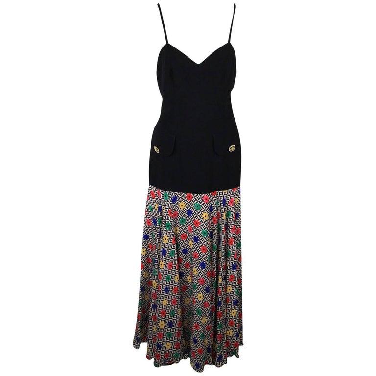 GAI MATTIOLO COUTURE Vintage Multicolor Drop Waist Maxi Dress Size 42