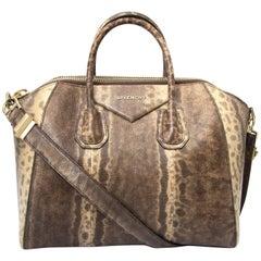 Limited Givenchy Antigona Medium Brown Snakeskin Tote