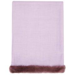 Verheyen London Handwoven Mink Fur Trimmed Cashmere Shawl in Lilac