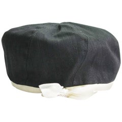 CHANEL Beret in Black Cotton and Ivory Grosgrain Edging and Ecru Bow Size 58