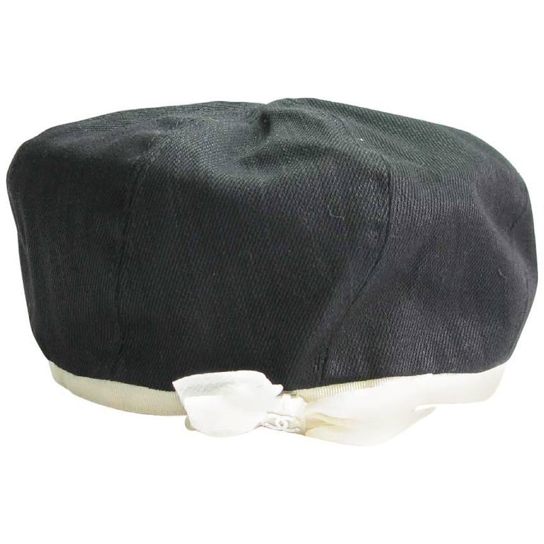 CHANEL Beret in Black Cotton and Ivory Grosgrain Edging and Ecru Bow Size  58 For Sale 0ccb99c1f4b