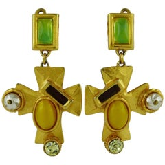 Christian Lacroix Vintage Jewelled Cross Dangling Earrings