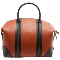 Givenchy 24 Hour Camel Leather and Black Grained Leather Bag