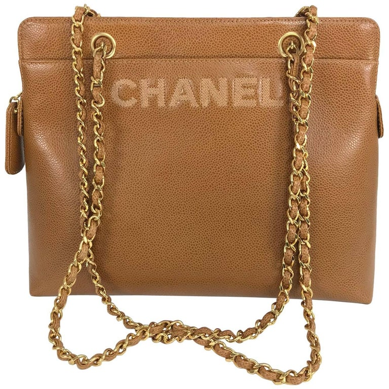 Chanel caramel pebble leather chain strap shoulder bag unused For Sale