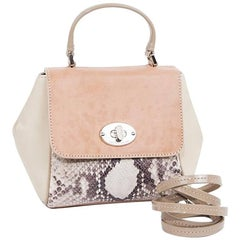 Jackie Smith Salmon-Stained Matte Leather Beige Suede and Python Leather Bag