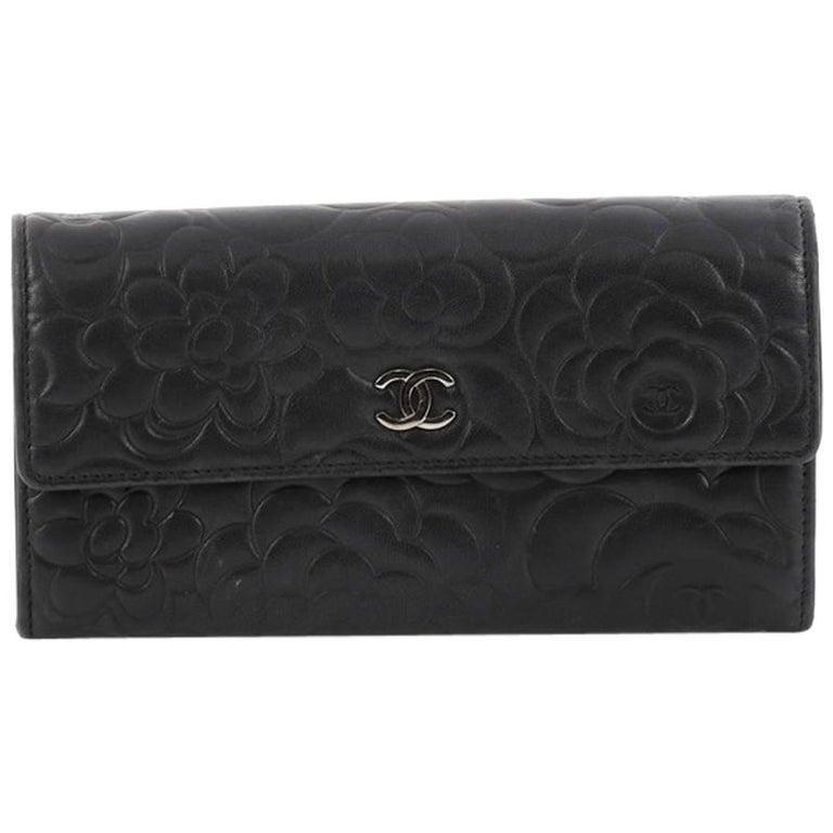 Chanel CC Gusset Flap Wallet Camellia Lambskin Long