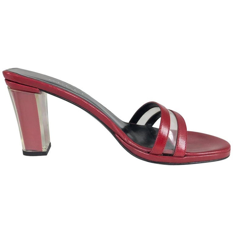 Gucci wine red leather Lucite heel mules 9B Unworn For Sale
