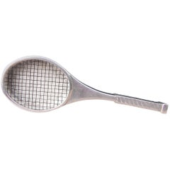 Hermès Collector Vintage Pill Box Tennis Racquet Shaped Silver Tone RARE