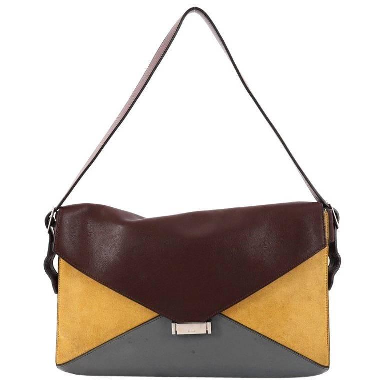 Celine Diamond Shoulder Bag Leather and Suede Medium