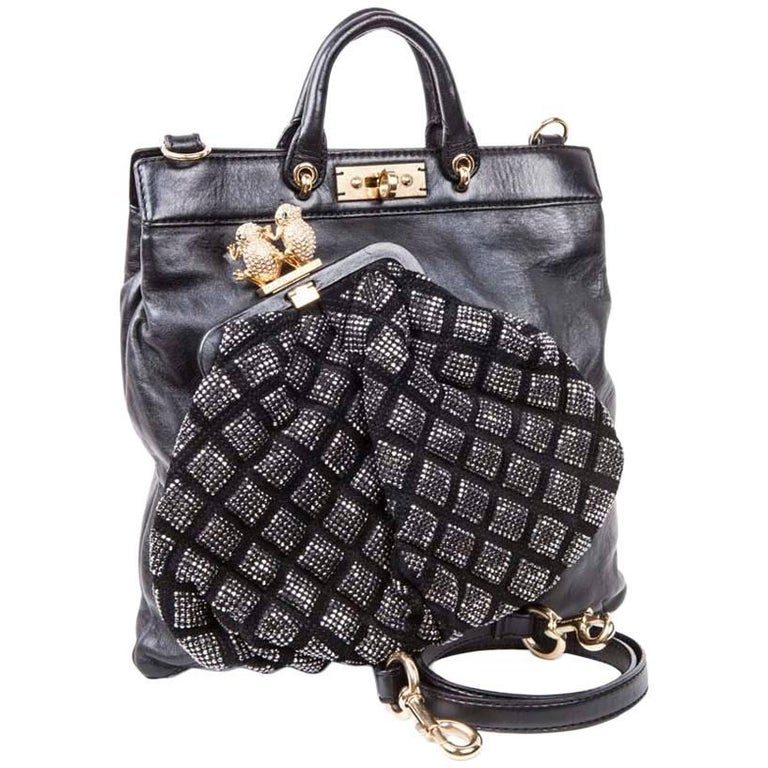 Marc Jacobs Black Smooth Leather and Black Crystal Mesh bag