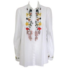 Blumarine White Embroidered Shirt