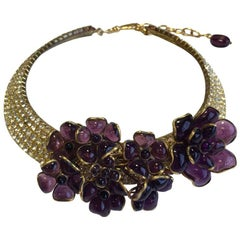 Marguerite de Valois Choker Necklace in Gold Plated Metal and Molten Glass