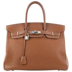 Hermes Birkin Handbag Gold Clemence with Palladium Hardware 35