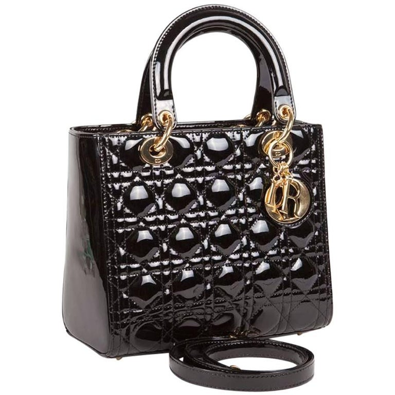 Christian Dior Black Quilted Patent Leather Lady Dior Bag  For Sale