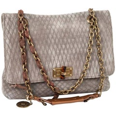 Lanvin Quilted Suede Gray Mouse Bag with Aged Gold Chain