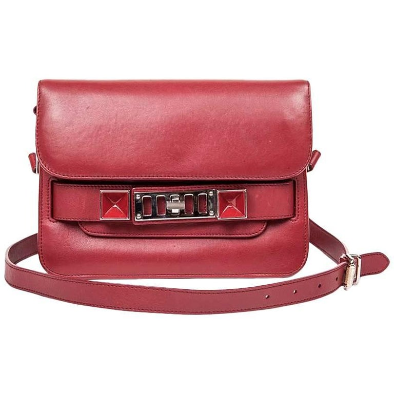Proenza Schouler PS11 Smooth Burgundy Leather Double Flap Bag