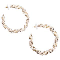 Chanel Gilded Metal and Pearls hoop earrings