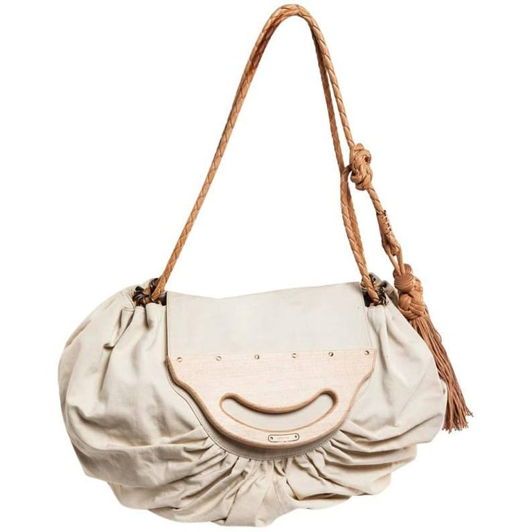 GIVENCHY Collector Wooden Flap Tote Bag in Beige Canvas and Leather
