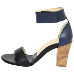 Chloe Black & Navy Leather Sandals Sz 36