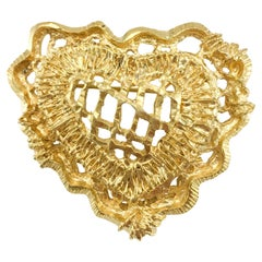 1990's Christian Lacroix Gold-Plated Stylised Heart Brooch