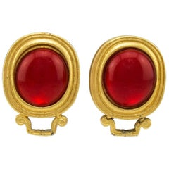 1980s YSL Yves Saint Laurent Red and Gold Earrings