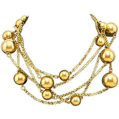 1970s Goldtone Sphere and Chain necklace