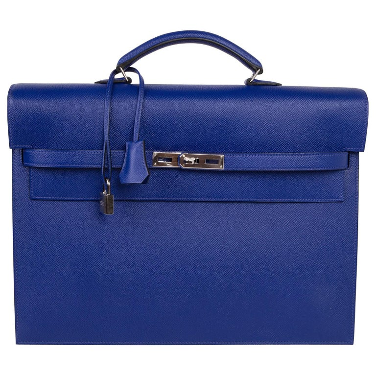 Hermes Kelly Depeche 38 Briefcase Rare Electric Blue Palladium For Sale at  1stdibs 9fedde7546f51