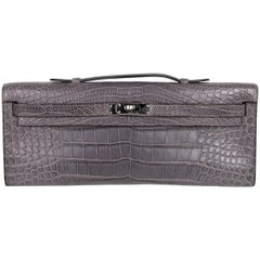 Hermes Kelly Cut Bag Gris Paris Grey Matte Crocodile Palladium VERY rare