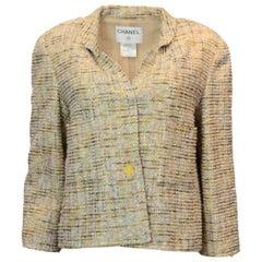 Chanel Beige & Multi-Colored Tweed Jacket Sz FR42