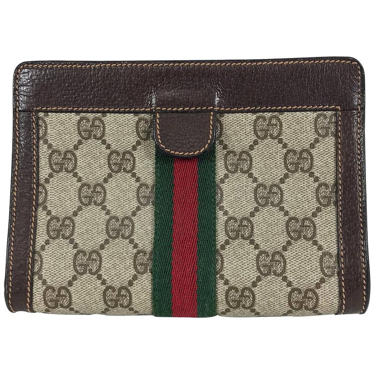 Gucci twill stripe leather trim makeup bag clutch 1980s  For Sale