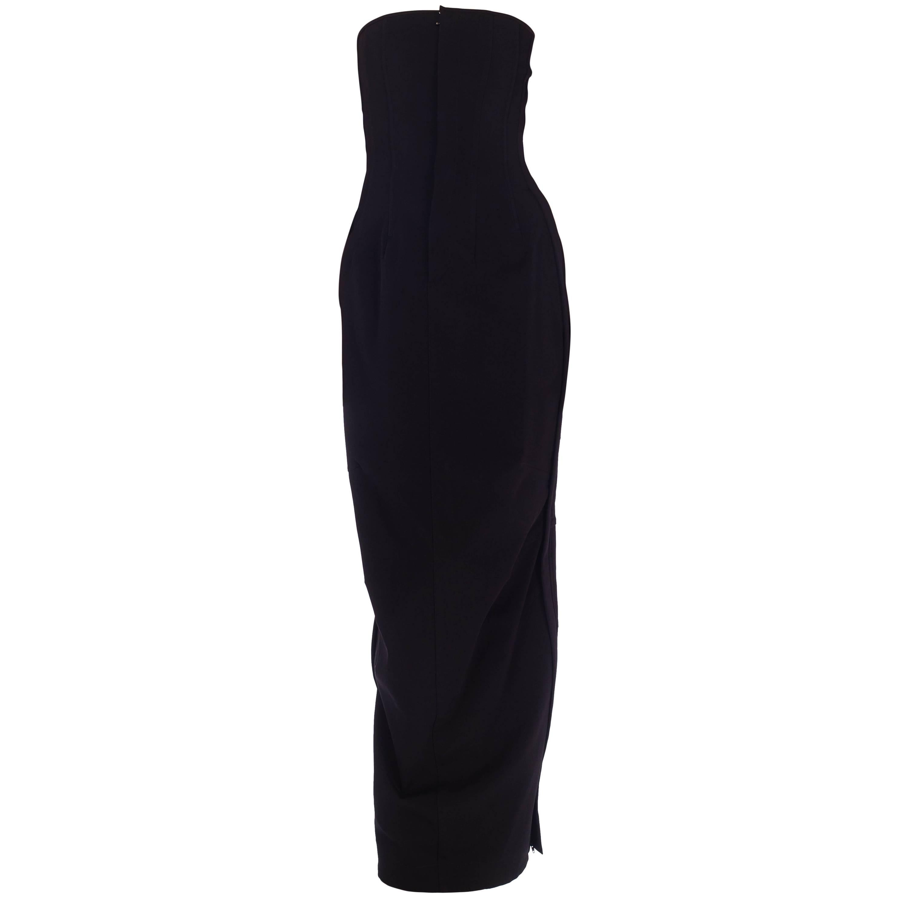 1990S DOLCE & GABBANA Black Poly Blend Stretch  Strapless Boned Corset Gown Wit