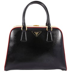 Prada Pyramid Top Handle Bag Vernice Saffiano Leather Medium