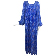 Raksha of Hindip London ink blue silk paisley  print bohemian dress 1970s unworn