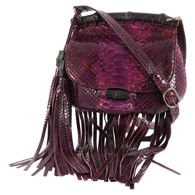 Gucci Nouveau Fringe Crossbody Bag Python Small