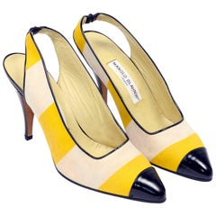 Manolo Blahnik Yellow and Cream Stripe Black Patent Leather Heeled Shoes, 1980s
