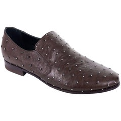 Brunello Cucinelli Dark Brown Leather Stone Studded Slip On Shoes